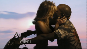 Kim K and Kanye West in his new video 'Bound 2'.